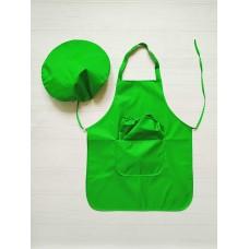 Фартук с нарукавниками и беретиком 5-10лет (зелёный)