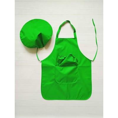 Фартук с нарукавниками и беретиком 5-11 лет (зелёный)
