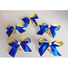 Колокольчики для первоклассников, выпускников школ и детских садов (d-35мм) с сине-жёлтой лентой