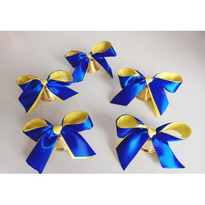 Большой колокольчики для первоклассников с сине-жёлтой лентой