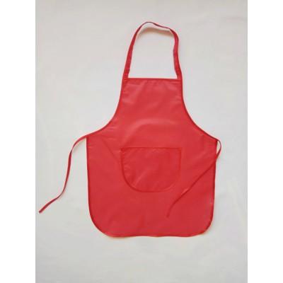 Детский фартук для труда и творчества 5-11 лет, красный ,без нарукавников.