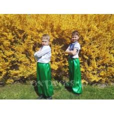 Шаровары детские зеленого цвета